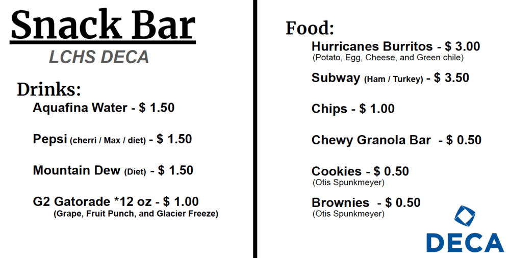 DECA Lunch Menu